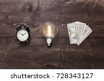 time  idea and earnings. retro... | Shutterstock . vector #728343127