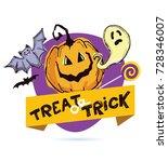halloween hand drawn  doodle... | Shutterstock .eps vector #728346007