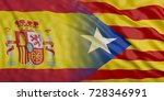 catalonia and spain waving flag ... | Shutterstock . vector #728346991