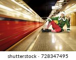 christmas elf and subway... | Shutterstock . vector #728347495