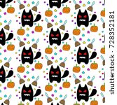 cat halloween pumpkin star and... | Shutterstock . vector #728352181