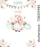 isolated cute watercolor... | Shutterstock . vector #728355985