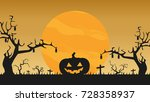 halloween vector wallpaper.... | Shutterstock .eps vector #728358937