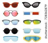 set of different sun glasses | Shutterstock .eps vector #728362879