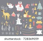 big set of cute winter animals  ... | Shutterstock .eps vector #728369059