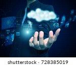 businessman holding cloud | Shutterstock . vector #728385019