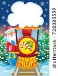 Santa Goes By Train With Blue...