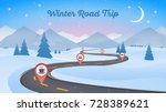 winter snowy landscape with... | Shutterstock .eps vector #728389621