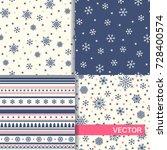 set of seamless winter patterns ... | Shutterstock .eps vector #728400574