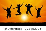 silhouette  jumping people at...   Shutterstock .eps vector #728403775
