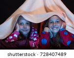 kids wearing red jammies in bed ... | Shutterstock . vector #728407489