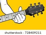 guitar player hand playing a...   Shutterstock .eps vector #728409211