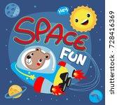 cute cartoon astronauts teddy...   Shutterstock .eps vector #728416369