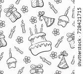 vector seamless pattern. happy... | Shutterstock .eps vector #728421715