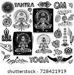 set vector yoga elements | Shutterstock .eps vector #728421919