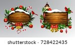 vector wooden christmas board | Shutterstock .eps vector #728422435