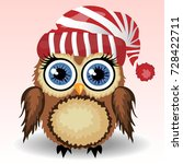 a little cute owl in a red and... | Shutterstock .eps vector #728422711