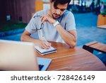 pensive male student making... | Shutterstock . vector #728426149