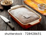 rustic chocolate cake with nuts ... | Shutterstock . vector #728428651