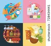 set of different fun  travel... | Shutterstock .eps vector #728434441