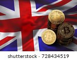 stack of bitcoin coins on uk... | Shutterstock . vector #728434519