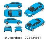 set of sedan cars. isolated... | Shutterstock .eps vector #728434954