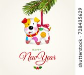 happy small dog. christmas tree ...   Shutterstock .eps vector #728435629