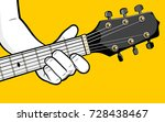 guitar player hand playing d... | Shutterstock .eps vector #728438467