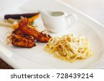 sea food salmon fried herb with ... | Shutterstock . vector #728439214