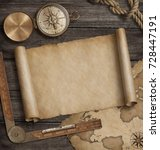old map scroll with compass.... | Shutterstock . vector #728447191