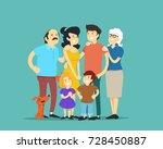 big happy family. vector... | Shutterstock .eps vector #728450887