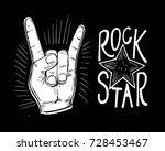 rock n rolll poster with skull  ... | Shutterstock .eps vector #728453467