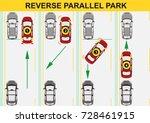 reverse parallel parking. flat... | Shutterstock .eps vector #728461915
