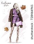stylish young woman in fur... | Shutterstock .eps vector #728466961