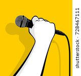 hand holding microphone | Shutterstock .eps vector #728467111