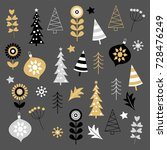 gold and black christmas... | Shutterstock .eps vector #728476249