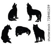 set   a flock of wolves  ... | Shutterstock .eps vector #728481259