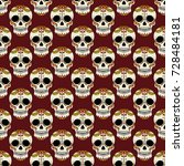 mexican sugar skulls with chili ... | Shutterstock .eps vector #728484181