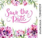 wildflower poppy flower frame... | Shutterstock . vector #728489059