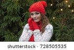 cheerful woman in santa hat...   Shutterstock . vector #728505535
