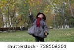 little girl collects autumn...   Shutterstock . vector #728506201