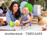 beautiful mother with baby... | Shutterstock . vector #728511655