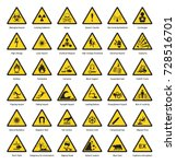 set of triangle yellow warning... | Shutterstock .eps vector #728516701