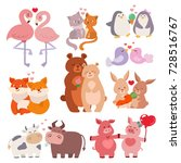 cute animals couples in love... | Shutterstock .eps vector #728516767