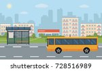 bus stop and bus on city... | Shutterstock .eps vector #728516989