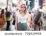 fashionable young woman... | Shutterstock . vector #728519959