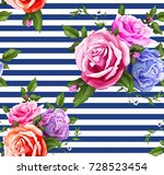 flowers and leaves floral... | Shutterstock .eps vector #728523454