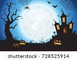 halloween spooky blue vector...   Shutterstock .eps vector #728525914