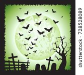 halloween square green bats...   Shutterstock .eps vector #728528089