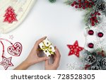 merry christmas and happy new... | Shutterstock . vector #728528305